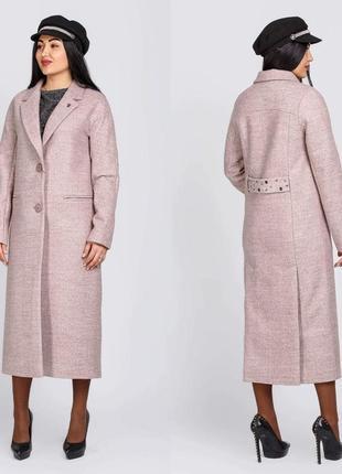 Шикарное женское длинное демисезонное пальто макси с брошкой с...