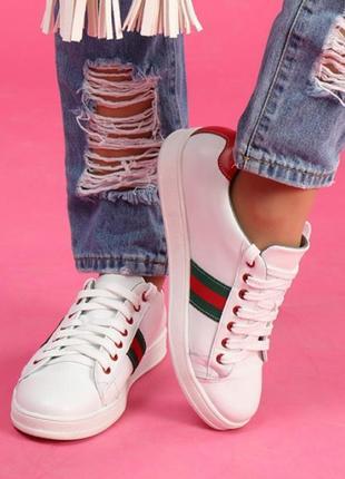 Скидка! кожаные женские кроссовки кеды с цветными вставками че...
