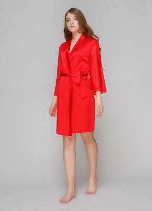 Халат serenade 181 красный женский с шифоновым рукавом шелк ар...