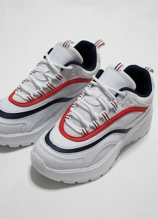 Женские белые кроссовки (крипперы) с синей и красной полоской в с