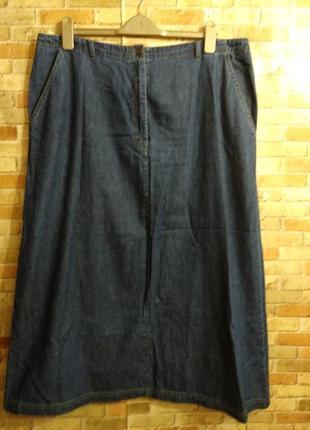 Джинсовая макси юбка с нюансом 20/54-56 размер