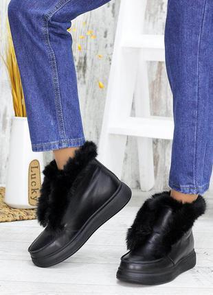 Женские кожаные полуботинки на меху, жiночi черевики