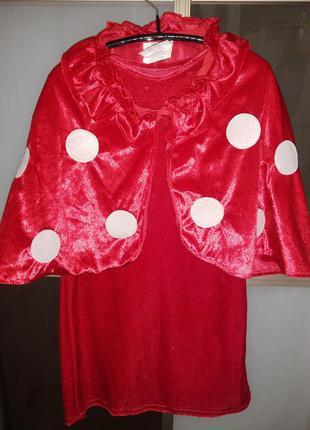 Карнавальный костюм детский грибочек мухомор/ красное платье