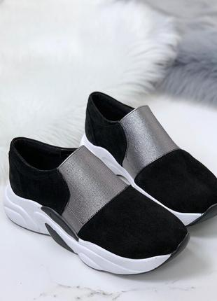 Черные замшевые кроссовки,чёрные кроссовки с серебристыми вста...