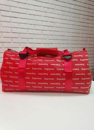 Спортивная сумка дорожная экокожа красная