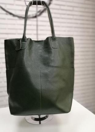 Кожаная женская сумка - шоппер зеленая