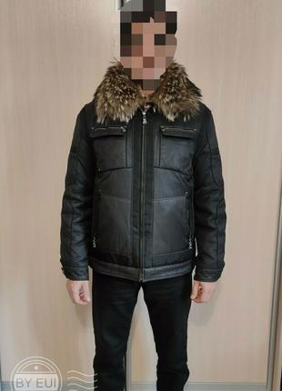 Куртка зимняя пуховая 2 в 1 с меховым воротником Р.50