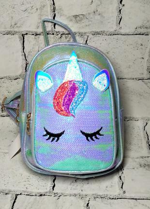 Рюкзак детский блестящий единорог, голубой