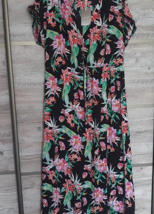 Красивое платье/сарафан в пол, принт цветы