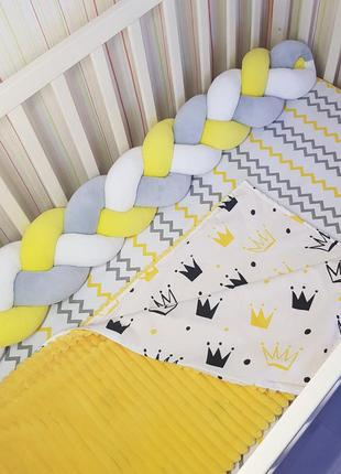 Бортик комплект в кроватку коса косичка защита