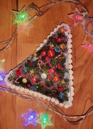 Ёлка/ ялинка бисер ручная работа игрушка украшения на новый год