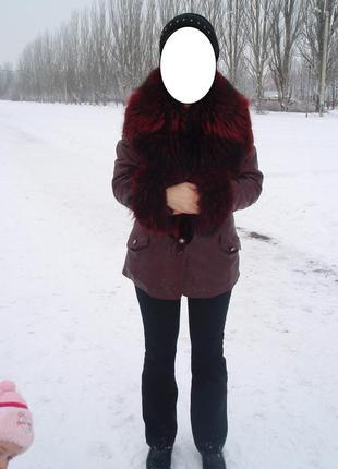 Куртка кожа 100% мех енот!!! (см.замеры)