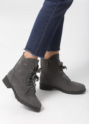 Новые женские серые осенние ботинки