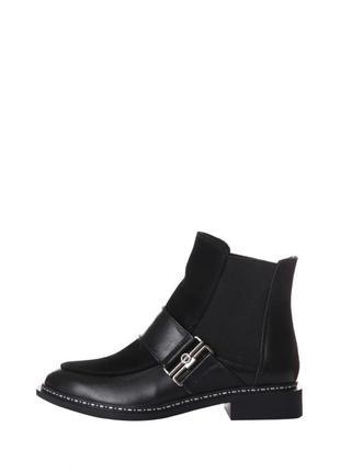 Стильные женские кожаные замшевые черные осенние ботинки низки...