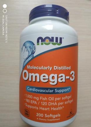 Омега 3 omega 3, 200 шт, Now foods, США, айхерб