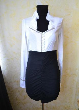 Комбинированное бело-чёрное платье-мини от defile lux