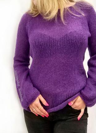 Легкий тонкий вязаный свитер-паутинка ручной работы