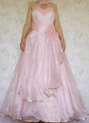 Нежно-розовое пышное платье с корсетом на свадьбу. размер 44