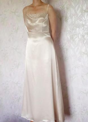 Золотистое атласное вечернее платье, на свадьбу,  размер 44
