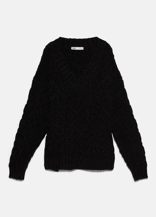 Вязаный свитер с узором косы zara