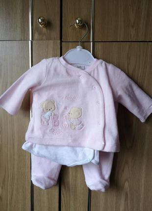 Костюм для новорожденных девочки велюровый комплект