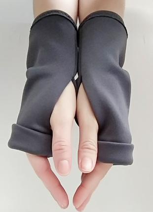 Перчатки без пальцев из трикотажа серые митенки женские