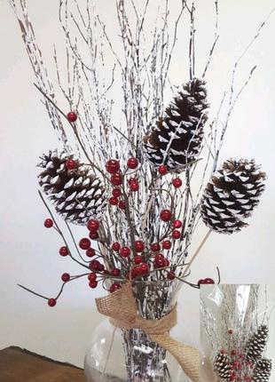 Веточка сухоцвет боярышник красные ягоды букет из веток