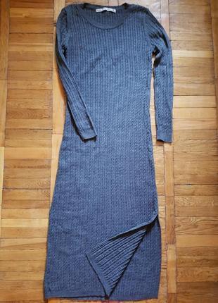Макси платье в рубчик
