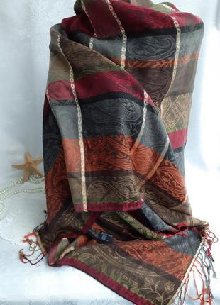 Палантин с бахромой вискоза с люрексом шарф широкий шаль