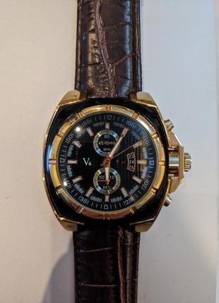 наручные часы V6 с кожаным ремешком