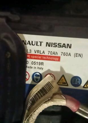 Аккумулятор AGM Renault Nissan 24410-0519R 70Ah 760A Exide EK-700