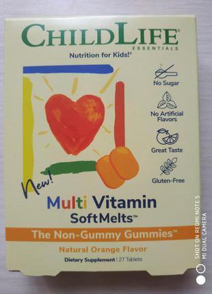 Мультивитамины, со вкусом апельсина, 27 шт, Childlife, США