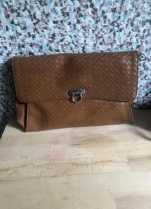 Клатч конверт коричневая рыжая сумка