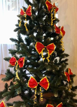 Бантики на ялинку, новоргодние банты, украшения на новый год