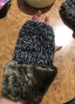 Митенки вязаные шерсть с мехом рукавицы ручная работа