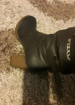 Кожані зимові чоботи