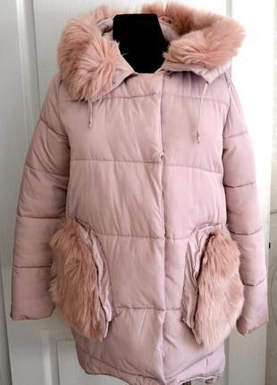 Зимняя куртка пуховик с искусственным мехом р.l