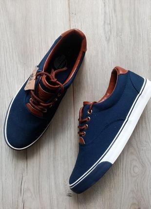 Стильные темно-синие кроссовки кеды слипоны слипы 40/41 размер
