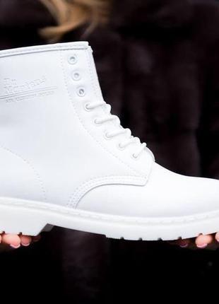 Dr. martens 1460 white fur женские кожаные зимние ботинки на м...