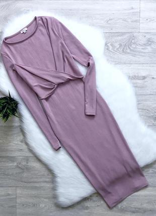 Платье миди нюдового цвета