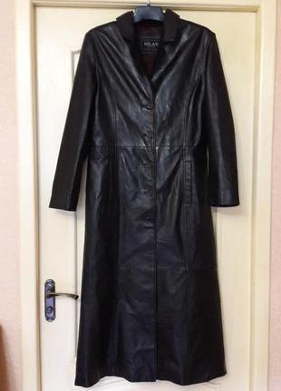 Кожаный плащ пальто длинный l-xl