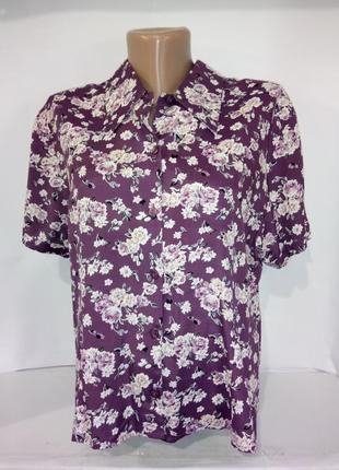 Вискозная рубашка в красивых розах sara neal uk 14/42/l