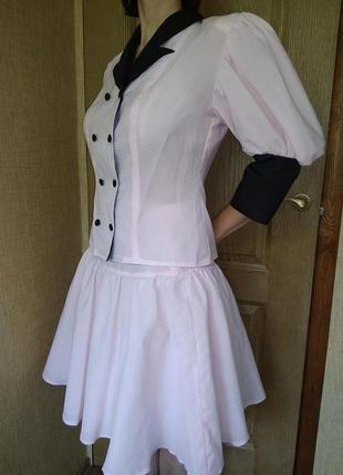 Нарядный костюм с пышными рукавами/ выпускное платье xs-s