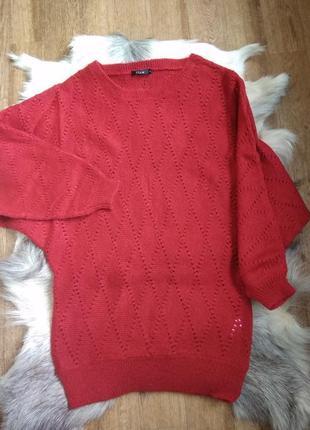 Яркое вязаное очень теплое платье / свитер винного цвета летуч...