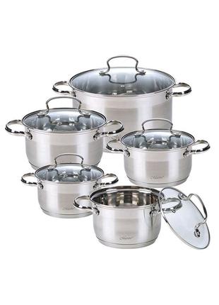 Набор посуды нержавеющий Maestro - 1,5 x 2,5 x 4 x 5 x 6 л (5 шт)