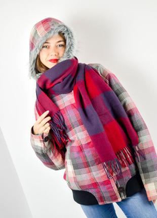 Большой бордовый уютный шарф - плед в клетку с кисточками, пал...