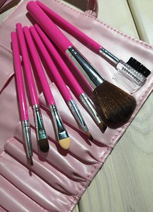 7 шт кисти для макияжа набор в футляре pink/pearl probeauty