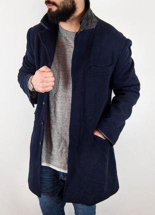 Armani exchange шерстяное пальто с кожаными вставками