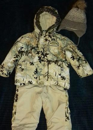 Отличный осенний комплект куртка и полукомбинезон + шапка