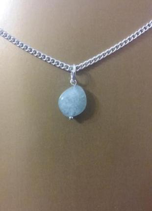 Новый кулон голубой опал натуральный камень минерал подарок девуш